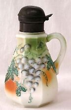 Vintage Milk Glass Syrup Pitcher Heavily Embossed HP Grapes Leaves NICE!