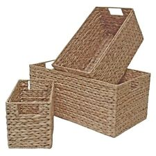 Wicker Storage Basket, Long & Deep Shelf Drawer Home Storage Water Hyacinth