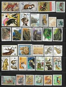 Animals Wild Domestic & Zoo Packet Lot of 34 Topical Stamp Collection used