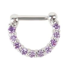 1pcs 16g(1.2mm) Surgical Steel CZ Septum Clicker Nose Ring Hoop Piercing Jewelry Purple