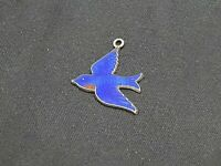 """Sterling Silver and Enamel Blue Bird Charm Measures approx 7/8"""" long Beautiful"""