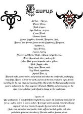 Taurus Zodiac Astrological Poster or Wicca Book of Shadows Page on Parchment