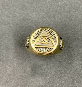Masonic Pyramid Mens Ring Stainless Steel Gold Colour Masonic Ring Size 11