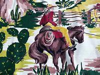 SALE Cowboy Western Barkcloth Vintage Fabric Drape Curtain 40's 50's Mid Century