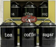 D.line Colonial Set of 3 Canisters 1 Litre Black - Coffee, Tea, Sugar