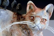 CAT URN CERAMIC ONE OF A KIND MADE BY ARTIST ORANGE TABBY ORIGINAL SCULPTURE