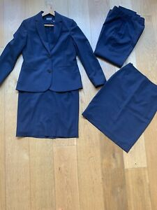 Jaeger Suit - Ladies' 10 - Smart - Jacket, skirt, trousers, dress Navy wool mix