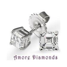 8.03 ct GIA J VS1 asscher square emerald diamond stud earrings gold push backs