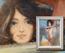 Pinturas desnudas: chica desnuda en la Red de pesca. Vintage Años 70 Años