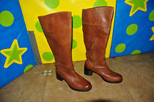 """$199 Halogen Brown Leather 2.75"""" Heel Knee High ridding Pull On Boots 10 M EUC"""