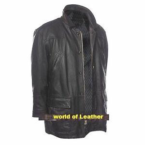 Black Casual Vintage  Genuine Leather Jacket Black Coat