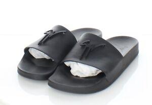 21-27 $295 Men's Sz 43 M Giuseppe Zanotti Birel Leather Slide Sandals In Black