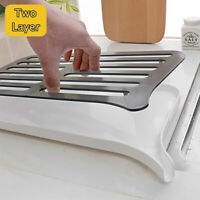2 in 1 Kitchen Sink Drain Board Dish Drying Vegetable Fruits Draining Rack Tray