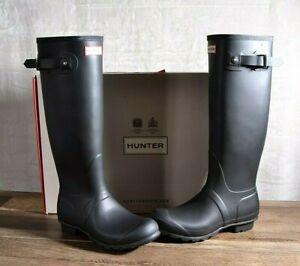 Hunter Women's Black Matte Rubber Rain Boots Original Tall 8 MED WFT1000RMA