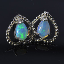 SALE: Solid Australian crystal opal earrings, natural opal,Love Heart,Studs,Gift