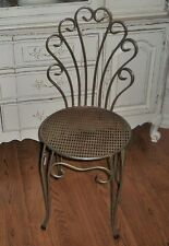 VTG Hollywood Regency Wrought Iron Ladies Boudoir Vanity Ice Cream Parlor Chair