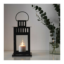 NEW IKEA STEEL LANTERN BLACK BORRBY 28cm TALL + FREE BLOCK CANDLE