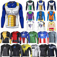 Mens Compression DBZ Marvel Superhero T-Shirt Gym Sports Cycling Shirts Tops Tee