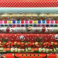 CHRISTMAS DECOR SANTA WATERPROOF XMAS OILCLOTH PVC KITCHEN TABLE CLOTH FABRIC