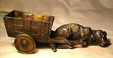 alte Figur, Skulptur, Bronze oder Messing, Hund mit Wagen, antik