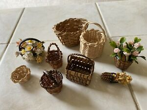 Selection Of Dolls House Baskets Some With Flowers 1.12