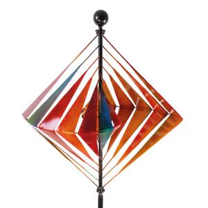 Riesiges WINDRAD KARO XL Windspiel Windmühle H.218ø66cm Metall Gartenstecker