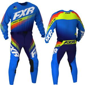 "New 2021 FXR Clutch MX Kit Combo Blue/Navy/Hi-Vis 34"" Pant + X-Large Shirt"