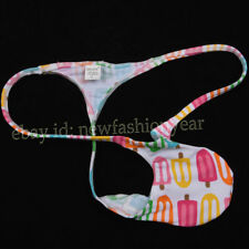 Men Mini Thong Guys Underwear Pouch String T-back Cartoon Funny Micro Bikinis XL