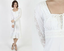 Vintage 70s Gunne Sax White Floral Lace Boho Wedding Bridal Corset Mini Dress S