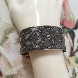Vintage Jewellery Bangle Cuff with Old Antique Gold Celtic Pattern Goth Jewelry