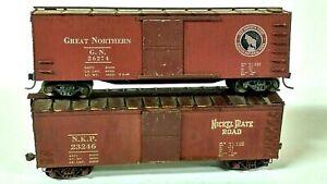 HO Scale (2) Vintage Silver Streak Box Cars: Nickel Plate Road, Great Northern
