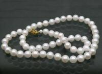"""20"""" AAA+ 10-11mm Real natural South sea White round pearl necklace 14k gold"""