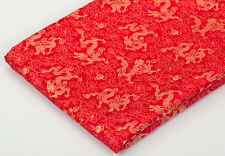 BY 4 YARDS WHOLESALE!  CHINESE FOLK RETRO BROCADE FABRIC: GOLDEN FLORAL DRAGON -