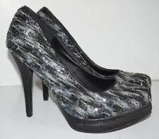 BKE Sole Black Gray Sequin Stilettos Platform High Heel Shoes Sz 8