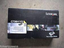 New Genuine Lexmark C736 X736 X738 HY Yellow Toner Cartridge C736H1YG CY36-H1YG