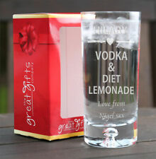 Personalised Boxed Vodka & Diet Lemonade Glass Gift Birthday Xmas Heart