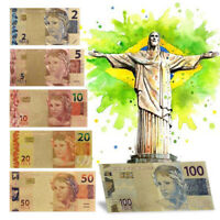 WR Color Gold Brazil Banknote Set 2 5 10 20 50 100 Reals Polymer Note Collection
