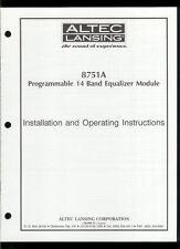 Orig Factory Altec Lansing 8751A 14 Band Equalizer Owner's Instruction Manual