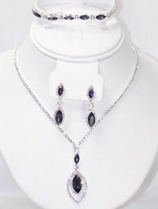 3Pcs Purple W Silver Crystal Rhinestone Dangle Necklace Earrings Bracelet Set 67
