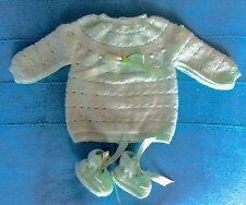 NOUVEAU layette bébé,brassière-chaussons NAISSANCE vert laine hypoallergénique