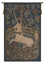 Licorne Captive Blue French Medieval Unicorn Woven Tapestry Wall Hanging NEW