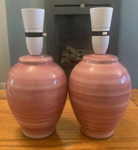 PAIR OF PINK BEDSIDE LAMPS