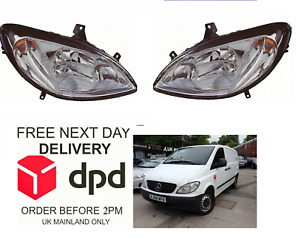 Mercedes Vito Viano  2003-2010 Headlight Headlamp Both Sides Set Pair Right Left
