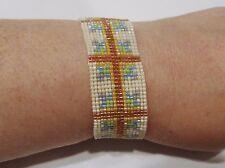 handmade southwest cross pattern beaded bracelet