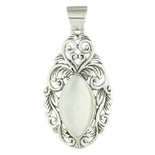 Sterling Silver Pendant Marquise Shape Mother of Pearl Handmade Size 50mm Height