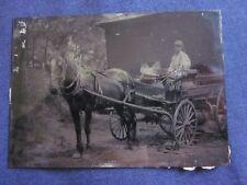 1/6 Tintype of Boy in Horse Drawn Buckboard