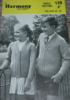Original Vintage Harmony Knitting Pattern /Boy's Sweater & Girl's Cardigan 159