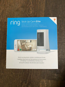Ring Stick Up Cam ELITE HD Security Camera WHITE Two-Way Talk, Alexa Outdoor Use
