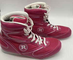 Ringside Diablo Boxing Shoes size 7 lightweight  pink white trim shoe11