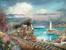 Jigsaw Puzzle Train Bar Harbor Bound Steam Locomotive 750 pieces NEW Made in USA